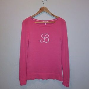 "Lilly Pulitzer ""B"" Pink Sweater"